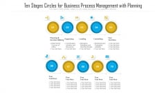 Ten Stages Circles For Business Process Management With Planning Ppt PowerPoint Presentation File Show PDF