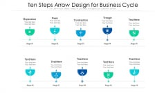 Ten Steps Arrow Design For Business Cycle Ppt PowerPoint Presentation Gallery Tips PDF