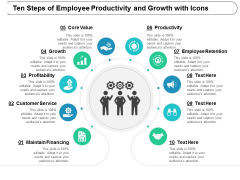 ten steps of employee productivity and growth with icons ppt powerpoint presentation summary aids