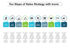 ten steps of sales strategy with icons ppt powerpoint presentation gallery slideshow