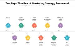 Ten Steps Timeline Of Marketing Strategy Framework Ppt PowerPoint Presentation File Graphics Download PDF
