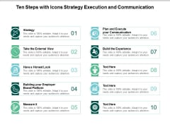 ten steps with icons strategy execution and communication ppt powerpoint presentation inspiration visual aids