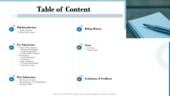 Tender Assessment Table Of Content Ppt Show Layouts PDF