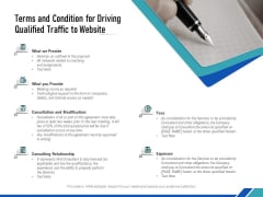 Terms And Condition For Driving Qualified Traffic To Website Ppt Ideas Gridlines PDF