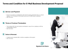 Terms And Condition For E Mail Business Development Proposal Renewal Ppt PowerPoint Presentation Portfolio Professional