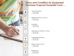 Terms And Condition For Equipment Purchase Proposal Template Cont Ppt Pictures Professional PDF