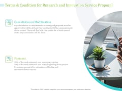 Terms And Condition For Research And Innovation Service Proposal Ppt PowerPoint Presentation Layouts Portrait PDF