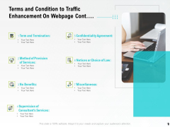 Terms And Condition To Traffic Enhancement On Webpage Cont Ppt PowerPoint Presentation Ideas Slide Portrait PDF