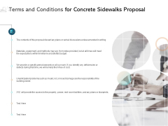 Terms And Conditions For Concrete Sidewalks Proposal Ppt PowerPoint Presentation Infographic Template Graphics Design