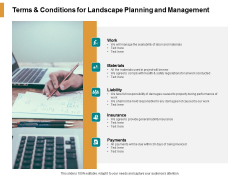 Terms And Conditions For Landscape Planning And Management Ppt PowerPoint Presentation Inspiration Master Slide