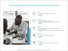 Terms And Conditions For Lawn And Landscape Services Ppt PowerPoint Presentation Gallery Background Images