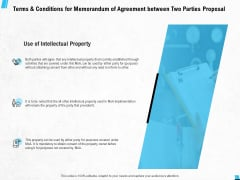 Terms And Conditions For Memorandum Of Agreement Between Two Parties Proposal Ppt PowerPoint Presentation Icon Diagrams