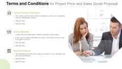 Terms And Conditions For Project Price And Sales Quote Proposal Diagrams PDF