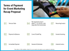 Terms Of Payment For Event Marketing Recap Proposal Ppt Infographic Template Graphics PDF