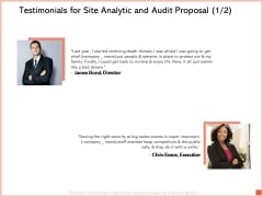 Testimonials For Site Analytic And Audit Proposal Communication Ppt Styles Templates PDF