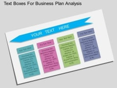 Text Boxes For Business Plan Analysis Powerpoint Template