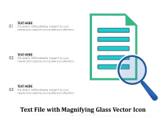 Text File With Magnifying Glass Vector Icon Ppt PowerPoint Presentation Icon Backgrounds PDF