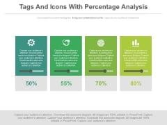 Text Tags And Icons With Percentage Values Powerpoint Slides