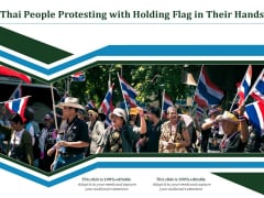 Thai People Protesting With Holding Flag In Their Hands Ppt PowerPoint Presentation Gallery Design Templates PDF