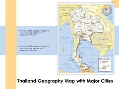 Thailand Geography Map With Major Cities Ppt PowerPoint Presentation Gallery Topics PDF