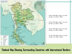 Thailand Map Showing Surrounding Countries With International Borders Ppt PowerPoint Presentation File Portfolio PDF