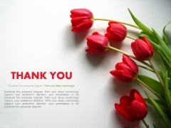 Thank You Slide With Red Flowers Powerpoint Slides
