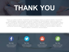 Thank You With Text Space And Social Media Icons Powerpoint Slides