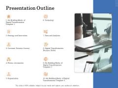 The Building Blocks Of Digital Transformation Presentation Outline Ppt PowerPoint Presentation Inspiration Summary PDF