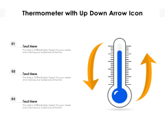 Thermometer With Up Down Arrow Icon Ppt PowerPoint Presentation File Templates PDF