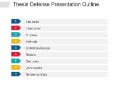 Thesis Defense Presentation Outline Ppt PowerPoint Presentation Infographic Template Icons