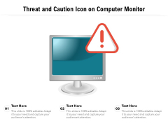 Threat And Caution Icon On Computer Monitor Ppt PowerPoint Presentation Infographics Slideshow PDF