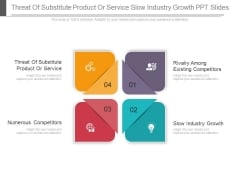 Threat Of Substitute Product Or Service Slow Industry Growth PPT Slides