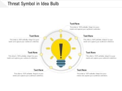 Threat Symbol In Idea Bulb Ppt PowerPoint Presentation Gallery Infographic Template PDF