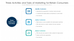 Three Activities And Tasks Of Marketing For Retain Consumers Ppt Icon Show PDF