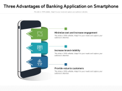 Three Advantages Of Banking Application On Smartphone Ppt PowerPoint Presentation File Display PDF