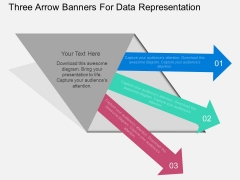 Three Arrow Banners For Data Representation Powerpoint Template