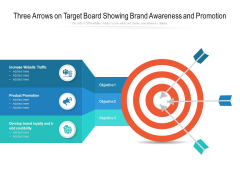 Three Arrows On Target Board Showing Brand Awareness And Promotion Ppt Powerpoint Presentation File Show Pdf