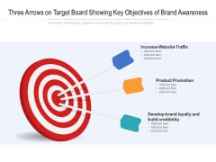 Three Arrows On Target Board Showing Key Objectives Of Brand Awareness Ppt Powerpoint Presentation Portfolio Master Slide Pdf