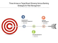 Three Arrows On Target Board Showing Various Banking Strategies For Risk Management Ppt Powerpoint Presentation Slides Example Pdf