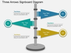 Three Arrows Signboard Diagram PowerPoint Template