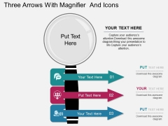Three Arrows With Magnifier And Icons PowerPoint Template