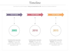 Three Arrows With Years For Timeline Planning Powerpoint Slides