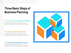 Three Basic Steps Of Business Planning Ppt PowerPoint Presentation Professional Demonstration PDF