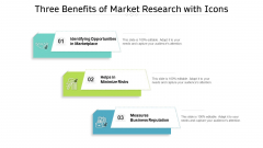 Three Benefits Of Market Research With Icons Ppt PowerPoint Presentation File Templates PDF