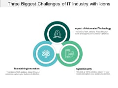 Three Biggest Challenges Of It Industry With Icons Ppt PowerPoint Presentation Ideas Model