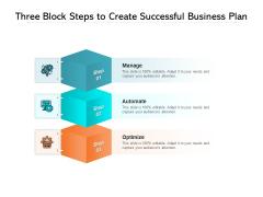 Three Block Steps To Create Successful Business Plan Ppt PowerPoint Presentation Gallery Portfolio PDF