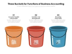 Three Buckets For Functions Of Business Accounting Ppt PowerPoint Presentation File Clipart PDF