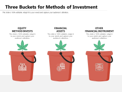 Three Buckets For Methods Of Investment Ppt PowerPoint Presentation Gallery Background PDF