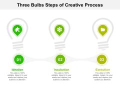 Three Bulbs Steps Of Creative Process Ppt PowerPoint Presentation File Slides PDF