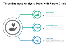 Three Business Analysis Tools With Pareto Chart Ppt PowerPoint Presentation Layouts Vector PDF